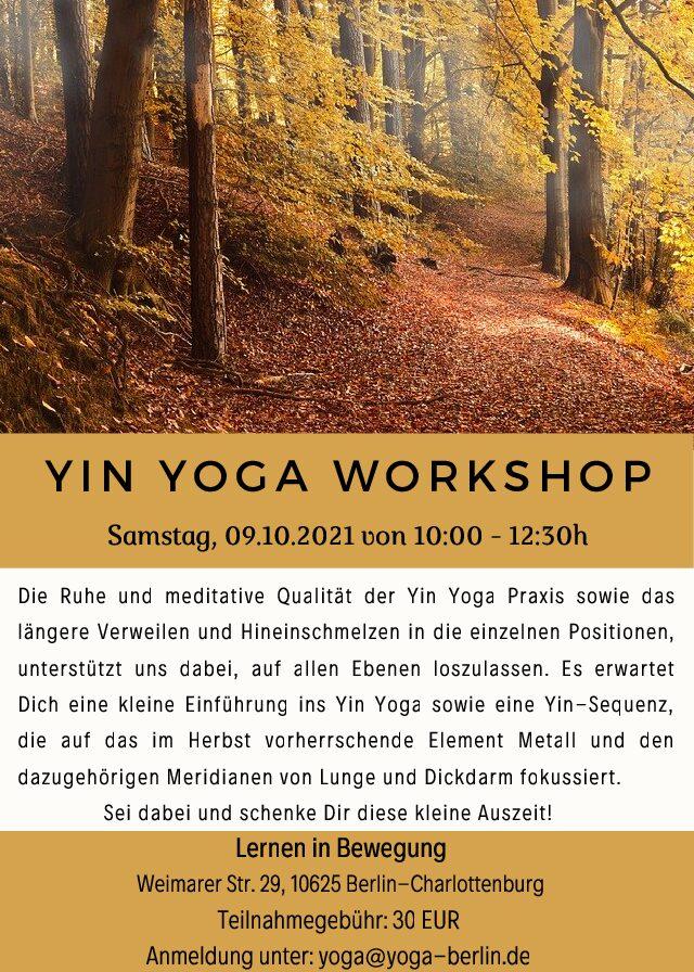 Yin Yoga Workshop im Herbst am Samstag, 09.10.2021 von 10:00 – 12:30 Uhr
